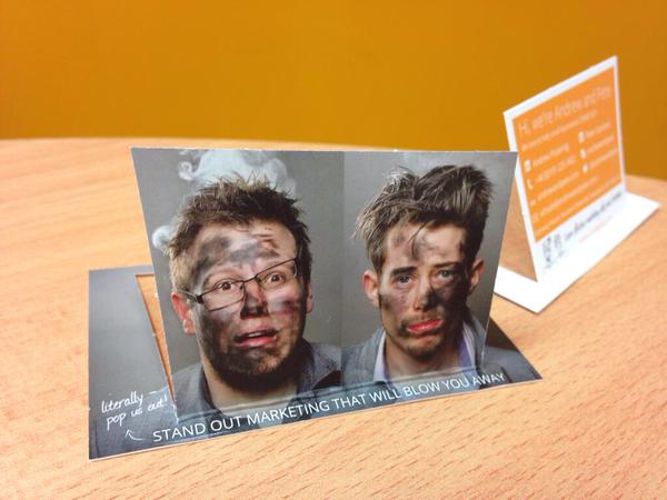 What does your business card say about you casestudy andrew and pete pop out business cards literally stand out marketing we loved them and let us tell you these went down a storm colourmoves